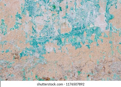 Abstrack Wall Texture Detail With Green Paint and Peach Paint