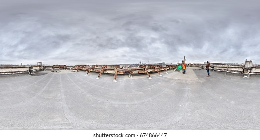 Abstract 360 panorama on the roof of an industrial building in winter photography of people on the roof in a golden panorama 360-degree panorama conceptual 3d panorama of people's photography.