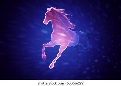 abstract 3d art of a running horse