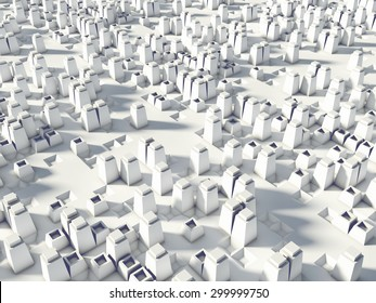 Abstract 3d background with building of future