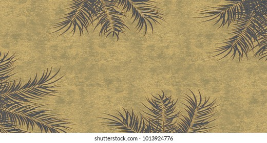 Abstract 3d background with gilding, 3 d illustration, black relief background with voluminous yellow-gold pattern of palm leaves. Celebratory background, Golden leaves of a palm tree.render