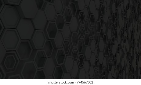 Abstract 3d background made of black hexagons. Wall of hexagons. Honeycomb pattern. 3D render illustration