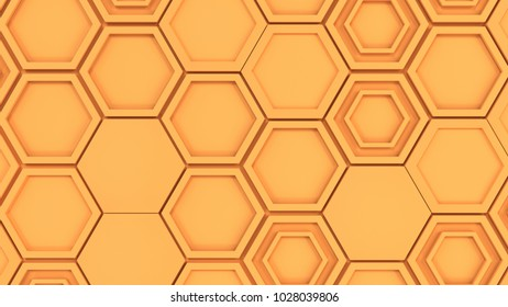 Abstract 3d background made of orange hexagons. Wall of hexagons. Honeycomb pattern. 3D render illustration