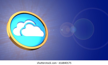 abstract 3d binary background with cloud symbol and lens flare
