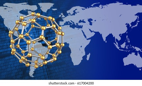abstract 3d binary background with molecular shape and earth