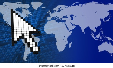 abstract 3d binary background with mouse cursor and earth