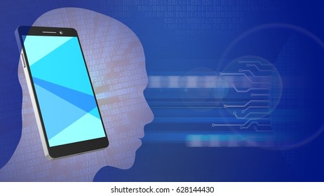 abstract 3d binary background with phone head silhouette and lens flare