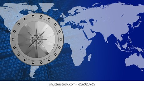 abstract 3d binary background with vault door and earth