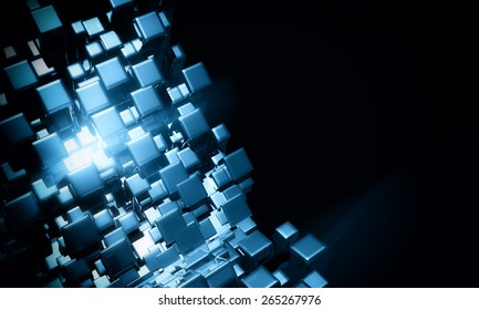 Abstract 3d blue cubes background