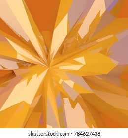 Abstract 3d broken yellow, orange, shiny low poly glass modern elegant background