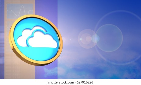 abstract 3d clouds background with cloud symbol and lens flare