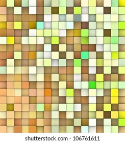 abstract 3d cubes backdrop in green and orange yellow