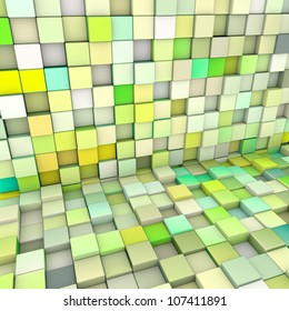 abstract 3d cubes backdrop in yellow and green