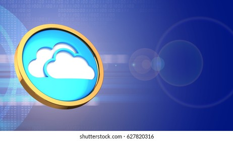 abstract 3d digital background with cloud symbol and lens flare