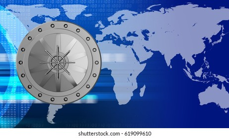 abstract 3d digital background with vault door and earth