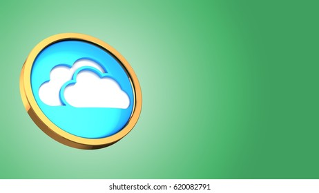 abstract 3d gree background with cloud symbol and