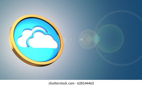 abstract 3d gree background with cloud symbol and lens flare