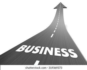 abstract 3d illustration of asphalt road with business sign