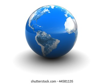 abstract 3d illustration of blue earth globe over white background