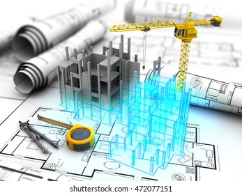 abstract 3d illustration of building design project