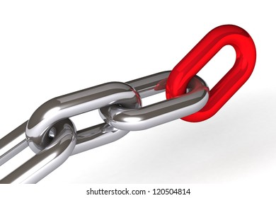 abstract 3d illustration chain links over white background