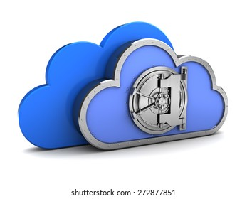abstract 3d illustration of cloud with vault door, remote storage concept