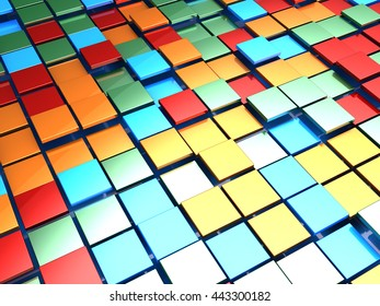 abstract 3d illustration of colorful tiles background