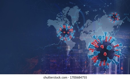 Abstract 3D illustration with Covid-19 molecule under microscope, overlayed over the night city and graphs
