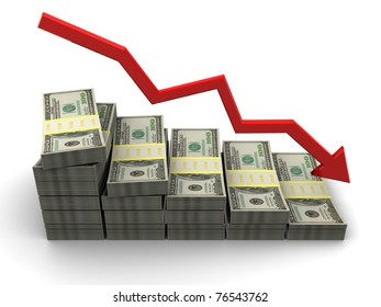 abstract 3d illustration of dollar failure charts