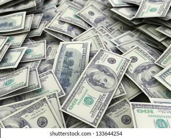 abstract 3d illustration of dollars backgroun