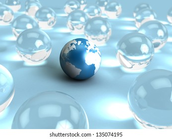 abstract 3d illustration of earth globe and glass spheres