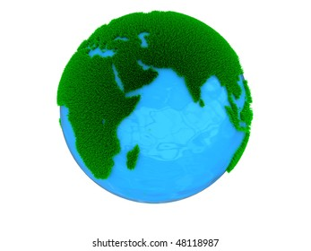 abstract 3d illustration of earth globe with grass