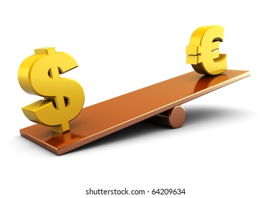 abstract 3d illustration of euro and dollar signs on scale board