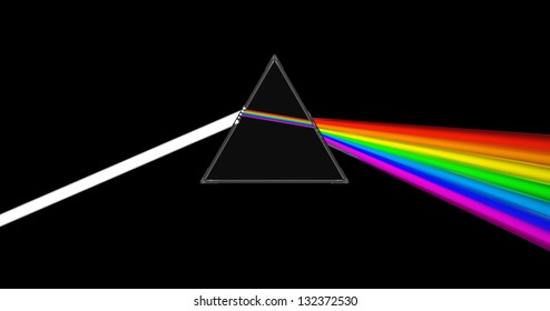 abstract 3d illustration of glass prism with light ray