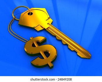 abstract 3d illustration of golden key with dollar sign, over blue background