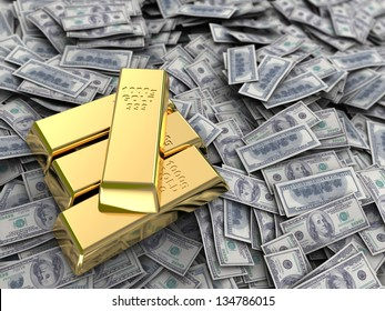 abstract 3d illustration of money with golden bars