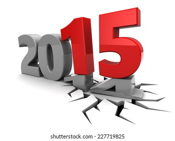 abstract 3d illustration of new year 2015