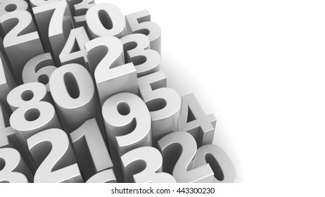 abstract 3d illustration of numbers background, white color