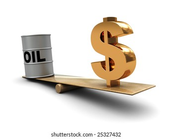 abstract 3d illustration of oil and dollar on scale