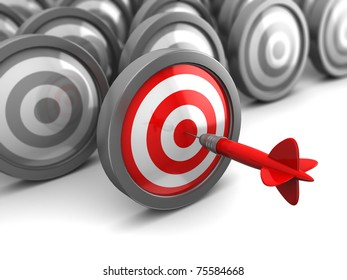 abstract 3d illustration of one selected target hit with dart