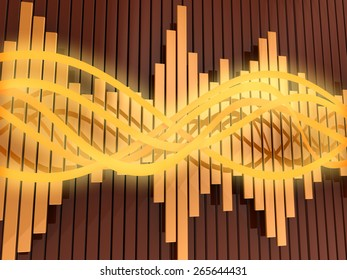 abstract 3d illustration of orange colors background with audio waves and spectrum