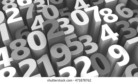 abstract 3d illustration of random numbers background