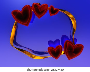 abstract 3d illustration of red hearts and golden ribbon over blue background