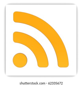 abstract 3d illustration of rss sign on white box, over white background