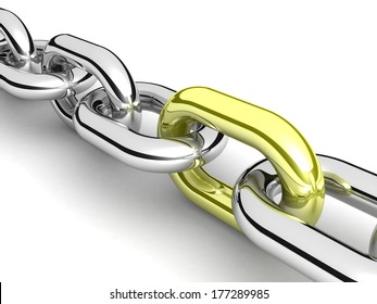 Abstract 3D illustration of a single chain link isolated on white background