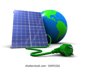 abstract 3d illustration of solar panel with earth globe, over white background