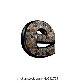 abstract 3d letter with mosaic floor texture - E