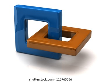 Abstract 3D object made of two frames