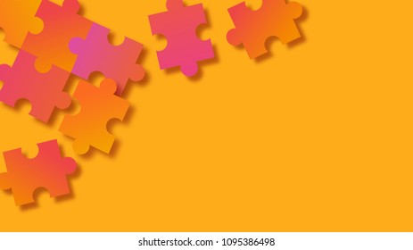 Abstract 3D orange gradient puzzle background