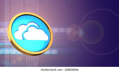 abstract 3d red background with cloud symbol and lens flare